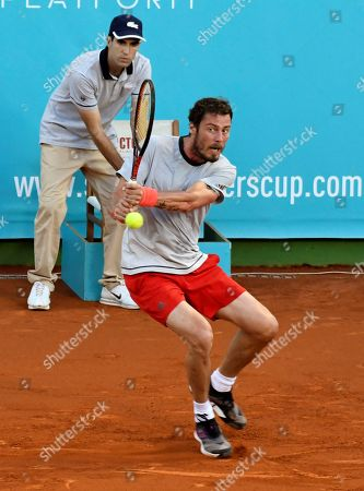 Russian former tennis player Marat Safin returns the ball to Spanish Juan Carlos Ferrero during the final of the Masters Seniors Tennis Tournament in which several tennis legends took part at Manolo Santana de Puente Romano facilities in Malaga, Andalusia, Spain, 29 September 2018 (issued 30 September 2018).