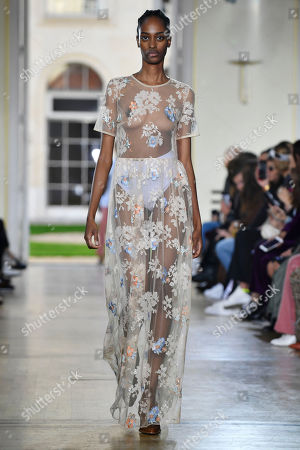 Stock Picture of A model presents a creation from the Women Spring/Summer 2019 collection by French designer Sophie Mechaly for Paul and Joe fashion house during the Paris Fashion Week, in Paris, France, 30 September 2018. The presentation of the Women's collections runs from 24 September to 02 October.