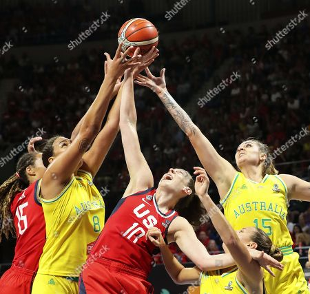Stock Image of Breanna Stewart (C) of the USA in action against Australian players Liz Cambage (2-L) and Cayla George (R) during the 2018 FIBA Women's Basketball World Cup final between Australia and the USA in San Cristobal de La Laguna, Canary Islands, Spain, 30 September 2018.