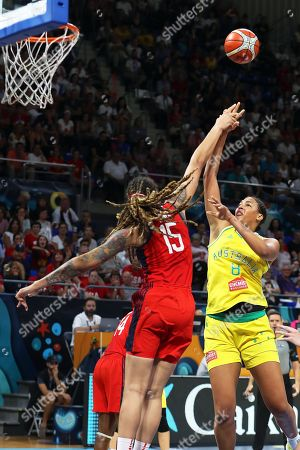 Stock Photo of Brittney Griner (L) of the USA in action against Australia's Liz Cambage (R) during the 2018 FIBA Women's Basketball World Cup final between Australia and the USA in San Cristobal de La Laguna, Canary Islands, Spain, 30 September 2018.