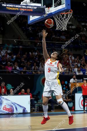 Chinese player Meng Li scores during the classification (5-6) match between China and France in the 2018 FIBA Women's Basketball World Cup held in Tenerife, Spain, 30 September 2018.