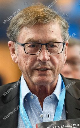 Lord Michael Ashcroft arrives at the conference centre for day one of the 2018 Conservative Party autumn conference at the ICC in Birmingham.