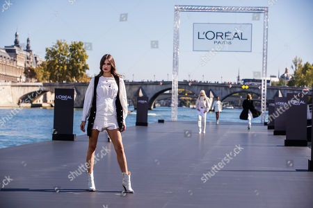 Italian Model Bianca Balti presents a creation as part of a fashion show organized by cosmetics company L'Oreal on the Seine, during the Paris Fashion Week, in Paris, France, 30 September 2018. The presentation of the Women's collections runs from 24 September to 02 October.