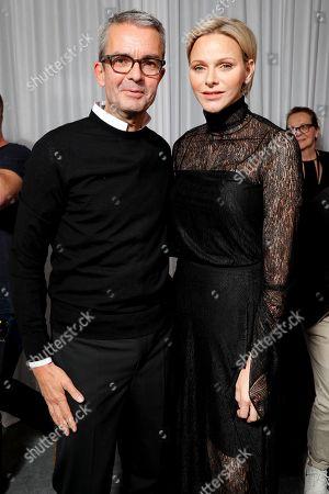 Albert Kriemler and Princess Charlene of Monaco backstage