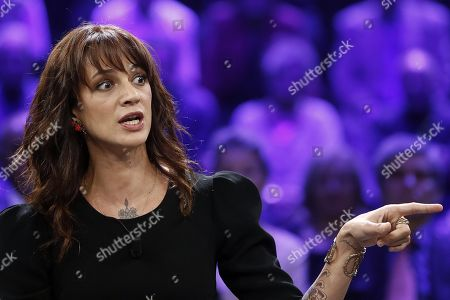 Italian actress Asia Argento during the Italian La7 TV program 'Non e l'Arena', conducted by Massimo Giletti, in Rome, Italy, 30 september 2018. According to reports, Argento was speaking about a scandal that broke out in August 2018 after she was accused of sexual assault by actor Jimmy Bennett in New York Times. Asia Argento denied any sexual contact with Bennett. Argento was among first women who publicly accused Harvey Weinstein of rape in October 2017.