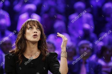Stock Image of Italian actress Asia Argento during the Italian La7 TV program 'Non e l'Arena', conducted by Massimo Giletti, in Rome, Italy, 30 september 2018. According to reports, Argento was speaking about a scandal that broke out in August 2018 after she was accused of sexual assault by actor Jimmy Bennett in New York Times. Asia Argento denied any sexual contact with Bennett. Argento was among first women who publicly accused Harvey Weinstein of rape in October 2017.