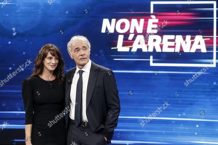 Italian actress Asia Argento (L) during the Italian La7 TV program 'Non e l'Arena', conducted by Massimo Giletti (R), in Rome, Italy, 30 september 2018. According to reports, Argento was speaking about a scandal that broke out in August 2018 after she was accused of sexual assault by actor Jimmy Bennett in New York Times. Asia Argento denied any sexual contact with Bennett. Argento was among first women who publicly accused Harvey Weinstein of rape in October 2017.
