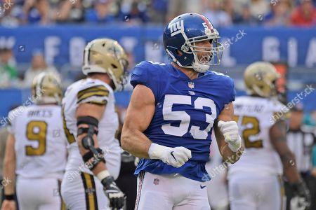 New York Giants' Connor Barwin reacts during the first half of an NFL football game against the New Orleans Saints, in East Rutherford, N.J