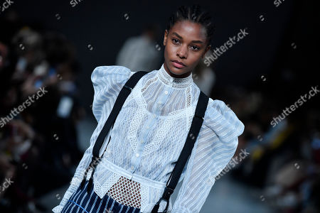 Stock Photo of A model presents a creation from the Spring/Summer 2019 Women's collection by British designer Bill Gaytten for John Galliano fashion house during the Paris Fashion Week, in Paris, France, 30 September 2018. The presentation of the Women's collections runs from 24 September to 02 October.