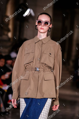 A model presents a creation of the Spring/Summer 2019 Women's collection by Chinese designer Masha Ma during the Paris Fashion Week, in Paris, France, 30 September 2018. The presentation of the Women's collections runs from 24 September to 02 October.