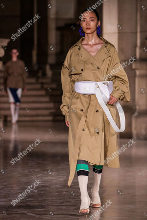 Stock Image of A model presents a creation of the Spring/Summer 2019 Women's collection by Chinese designer Masha Ma during the Paris Fashion Week, in Paris, France, 30 September 2018. The presentation of the Women's collections runs from 24 September to 02 October.