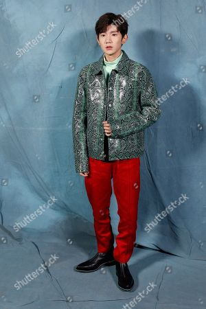 Stock Photo of Roy Wang poses for photographers upon arrival at the Givenchy Spring/Summer 2019 ready to wear fashion collection presented in Paris