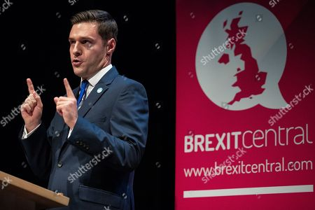 """Ross Thomson speaks at a """" Making a success of Brexit, the Brexit Central Conference rally """", on day 1 of the Conservative Party conference at the ICC in Birmingham."""
