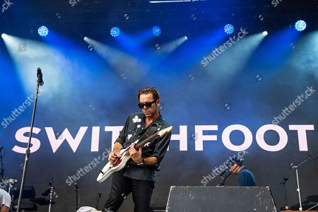 Stock Image of Drew Shirley of Switchfoot seen at Ohana Festival at Doheny State Beach, in Dana Point, Calif