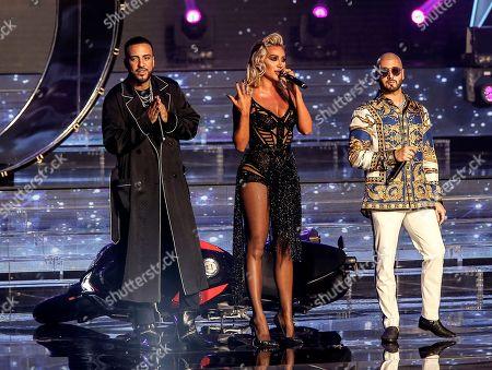 US hip hop recording artist French Montana (C) Lebanese singer Maya Diab (R) and Lebanese-Canadian singer Massari (L) perform during the Miss Lebanon 2018 beauty pageant at forum De Beyrout in Beirut, Lebanon, 30 September 2018.