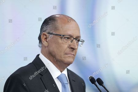 Brazilian Presidential candidate Geraldo Alckmin of the Social Democracia Brasilena Party participates in a televised Presidential debate with the other candidates organized by RecordTV in Sao Paulo, Brazil, 30 September 2018.