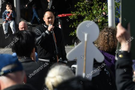 Stock Image of Paul Lee, partner of Huyen Tran, addresses a crowd outside the Federal Circuit Court in Melbourne, Australia, 01 October 2018. A demonstration has been called against the impending deportation of a Vietnamese Catholic asylum seeker Huyen Tran, who is facing separation from her family.