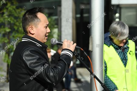Stock Picture of Paul Lee, partner of Huyen Tran, addresses a crowd outside the Federal Circuit Court in Melbourne, Australia, 01 October 2018. A demonstration has been called against the impending deportation of a Vietnamese Catholic asylum seeker Huyen Tran, who is facing separation from her family.