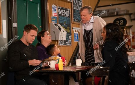 Ep 9591 Friday 19th October 2018 - 2nd Ep Roy Cropper, as played by DAVID NEILSON, tells Jude Appleton, as played by PADDY WALLACE, he has been shortlisted for a Good Samaritan award. Angie Appleton, as played by VICTORIA EKANOYE, suggests they celebrate over dinner at the Bistro where she apologises for going on the date behind his back. Jude is pleased that they seem to still have a spark.