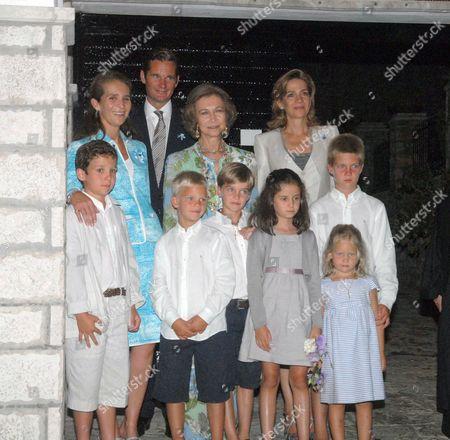 Stock Photo of Princess Elena, Inaki Urdangarin, Queen Sofia, Princess Cristina and children Prince Froilan, Prince Miguel, Prince Pablo Nicolas, Princess Victoria Federica, Princess Irene and Prince Juan Valentin