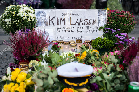 Flowers, candles, beers and greetings are placed on Christianshavns Torv in tribute to the late Danish singer Kim Larsen, in Copenhagen, Denmark, 01 October 2018. According to media reports, Larsen has died on 30 September 2018. He was 72.
