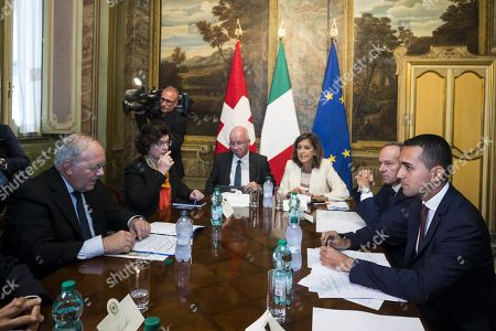 Stock Picture of Italian Deputy Premier and Labour and Industry Minister Luigi Di Maio (R) with Swiss Federal Councilor Johann Schneider-Ammann (L), during a meeting at Chigi Palace in Rome, Italy, 01 October 2018.