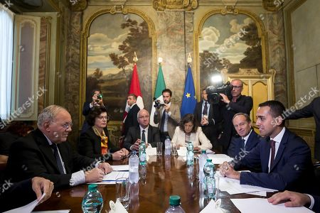 Italian Deputy Premier and Labour and Industry Minister Luigi Di Maio (R) with Swiss Federal Councilor Johann Schneider-Ammann (L), during a meeting at Chigi Palace in Rome, Italy, 01 October 2018.