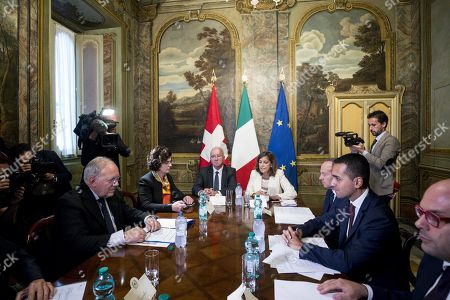 Stock Image of Italian Deputy Premier and Labour and Industry Minister Luigi Di Maio (R) with Swiss Federal Councilor Johann Schneider-Ammann (L), during a meeting at Chigi Palace in Rome, Italy, 01 October 2018.