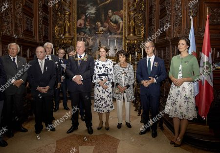 29-09-2018 Parma Prince Carlos of Bourbon-Parma and Princess Annemarie and Prince Jaime and Princess Viktoria, aunt princess Maria Teresa and Giacomo visiting the Steccata church in Parma, Italy.