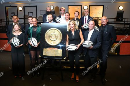 Pierre-Henri Azagoh, Laure Boulleau, Arthur Coville, Allison Pineau, Frederic michalak, Sebastien Chabal, Julien Benneteau, Theo Curin, Mathieu Spinosi, Astrid Bard, Thomas Levet and Laurent Weil, pose backstage during Rugby Night.