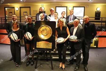 Pierre-Henri Azagoh, Laure Boulleau, Arthur Coville, Allison Pineau, Frederic michalak, Sebastien Chabal, Julien Benneteau, Theo Curin, Mathieu Spinosi, Astrid Bard, Thomas Levet and Laurent Weil pose backstage during Rugby Night.