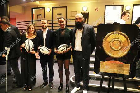 Laure Boulleau, Frederic Michalak, Allison Pineau and Sebastien Chabal pose in Backstage during Rugby Night.