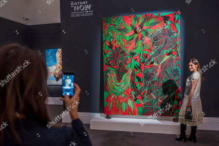 Afromantics by Chris Ofili, est £1-1.5m - As part of Frieze week Sotheby's is holding a public exhibition of over 200 works, including those by post-war masters and by Contemporary artists. The sales include lots from the collection of patron and museum trustee David Teiger.