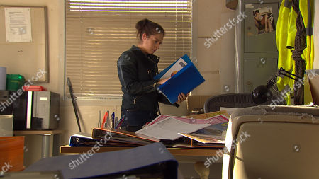 Ep 8286 Monday 15 October 2018 In her search for Adam, Victoria Barton, as played by Isobel Hodgins, breaks into the haulage office and starts rifling through the drawers.