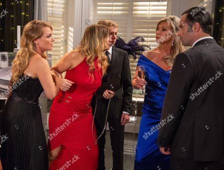 Ep 8282 Wednesday 10th October 2018 The long awaited car pulls up the drive and the guests are aghast when Kim Tate, as played by Claire King, steps out, and declares herself the true owner of Home Farm.. With Charity Dingle, as played by Emma Atkins ; Graham Foster, as played by Andrew Scarborough ; Vanessa Woodfield, as played by Michelle Hardwick ; Noah Dingle, as played by Jack Downham.