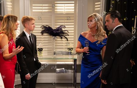 Ep 8282 Wednesday 10th October 2018 The long awaited car pulls up the drive and the guests are aghast when Kim Tate, as played by Claire King, steps out, and declares herself the true owner of Home Farm... With Charity Dingle, as played by Emma Atkins ; Graham Foster, as played by Andrew Scarborough ; Noah Dingle, as played by Jack Downham.