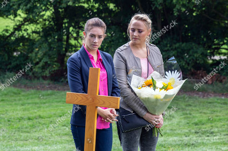 Ep 8275 Wednesday 3rd October 2018 Tracy Metcalfe, as played by Amy Walsh, and Victoria Barton, as played by Isobel Hodgins, lay flowers on Finn's grave. Victoria is bitter that Adam can't be here to do the same and walks away leaving Tracy puzzled.