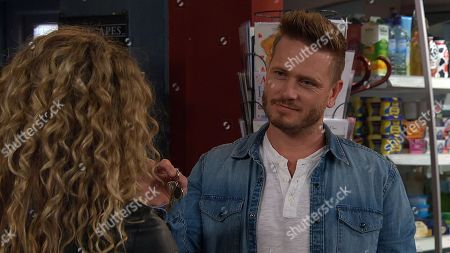 Stock Photo of Ep 8274 Tuesday 2nd October 2018 When Maya's, as played by Louisa Klein, left homeless, David Metcalfe, as played by Matthew Wolfenden, invites her to live with him and she willingly accepts.