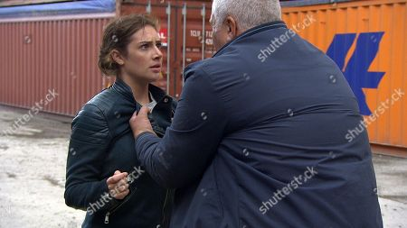 Stock Image of Ep 8289 Thursday 18th October 2018 - 1st Ep Glen, as played by David Lonsdale, tells Victoria Barton, as played by Isobel Hodgins, he has located Adam in Portugal and asks for £5,000. Matty is concerned and comes clean to Moira about knowing for a fact Adam isn't in Portugal. He pulls out Victoria's envelope of cash, saying he managed to get it out of her bag without her noticing but they all start to panic that Victoria now might be in danger. Meanwhile, Victoria panics during her meet up with Glen as she frantically searches her bag for the cash and Glen quickly loses his patience.