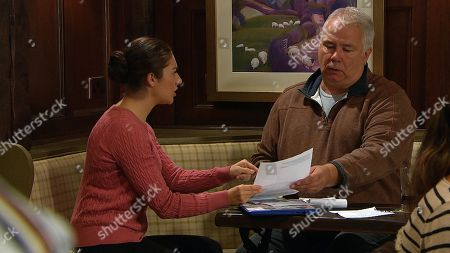 Ep 8288 Wednesday 17th October 2018 Victoria Barton, as played by Isobel Hodgins, is unfazed when Glen, as played by David Lonsdale, the detective advises her that tracking down Adam will be expensive but she transfers the first payment to him so he can start looking for Adam.