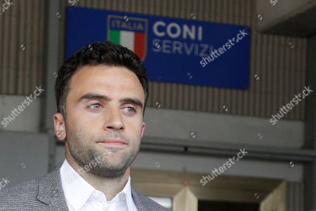Soccer player Giuseppe Rossi leaves after being heard by a CONI (Italian Olympic committee) anti-doping commission, in Rome