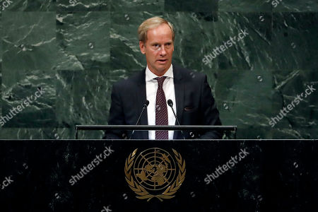 Stock Image of Sweden's U.N. Ambassador Olof Skoog addresses the 73rd session of the United Nations General Assembly, at U.N. headquarters