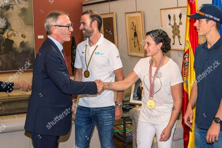Spanish Minister of Culture and Sport Jose Guirao (L) greets Elite Road Race of the UCI Road Cycling World Champion Alejandro Valverde (2-L), rider Ana Carrasco, World Champion of motorcycling Supersport 300, and Jorge Prado, World Champion of Motocross MX2, during an event held at High Council for Sport, in Madrid, Spain, 01 October 2018.
