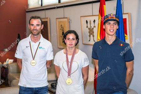 Elite Road Race of the UCI Road Cycling World Champion Alejandro Valverde (2-L), rider Ana Carrasco (C), World Champion of motorcycling Supersport 300, and Jorge Prado (R), World Champion of Motocross MX2, pose during an event held at High Council for Sport, in Madrid, Spain, 01 October 2018.
