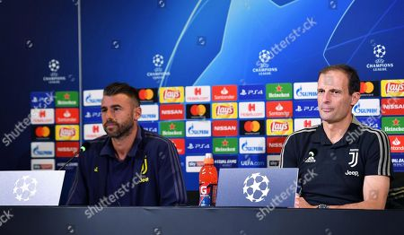 Juventus' coach Massimiliano Allegri (R) and defender Andrea Barzagli (L) attend a press conference in Turin, Italy, 01 October 2018. BSC Young Boys will face Juventus in their UEFA Champions League Group H soccer match on 02 October 2018.