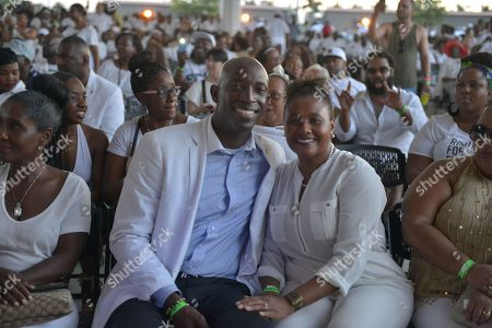 Mayor of Miramar Wayne M. Messam and wife Angela Messam attends The White Party concert featured Maze featuring Frankie Beverly and Isley Brothers at Miramar Regional Park Amphitheater