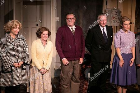 Tracy-Ann Oberman (Helen Kroger), Finty Williams (Barbara Jackson), Chris Larkin (Bob Jackson), Jasper Britton (Stewart) and Natalie Walter (Thelma) during the curtain call