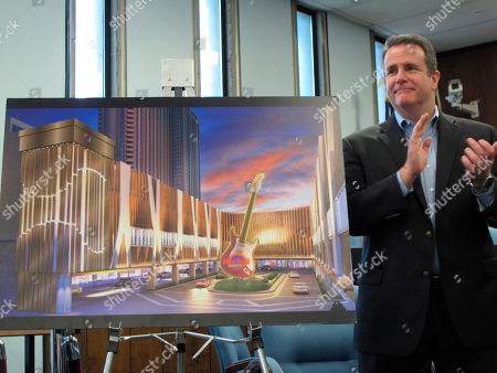Stock Image of This, photo shows Matt Harkness, president of the Hard Rock casino in Atlantic City, N.J., making a presentation to a neighborhood group in Atlantic City three months before the casino opened. On Monday, Oct. 1, Hard Rock announced it is replacing Harkness with Joe Lupo, a former Borgata executive