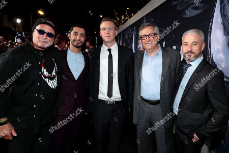 Avi Arad, Producer, Riz Ahmed, Ruben Fleischer, Director, Tony Vinciquerra, Chairman and Chief Executive Officer, Sony Pictures Entertainment, and Matt Tolmach, Producer, at Columbia Pictures' VENOM World Premiere at the Regency Village Theater