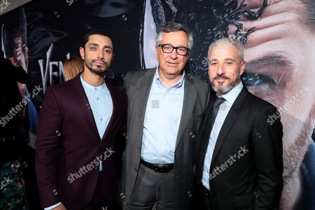 Riz Ahmed, Tony Vinciquerra, Chairman and Chief Executive Officer, Sony Pictures Entertainment, and Matt Tolmach, Producer, at Columbia Pictures' VENOM World Premiere at the Regency Village Theater
